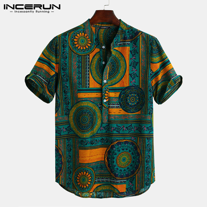 Men Shirt Ethnic Style Print Short Sleeve Stand Collar Camisa Masculina Casual Tops Streetwear Men Hawaiian Shirts 2020 INCERUN