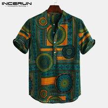 Männer Hemd Ethnischen Stil Druck Kurzarm Stehkragen Camisa Masculina Casual Tops Streetwear Männer Hawaiian Shirts 2021 INCERUN