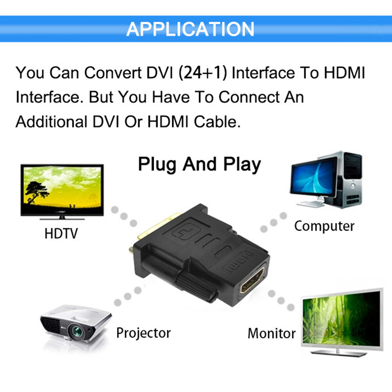 DVI 24 1 To HDMI Adapter Cables 24k Gold Plated Plug Male To Female HDMI To DVI 24+1 To HDMI Adapter Cables 24k Gold Plated Plug Male To Female HDMI To DVI Cable Converter 1080P For HDTV Projector Monitor