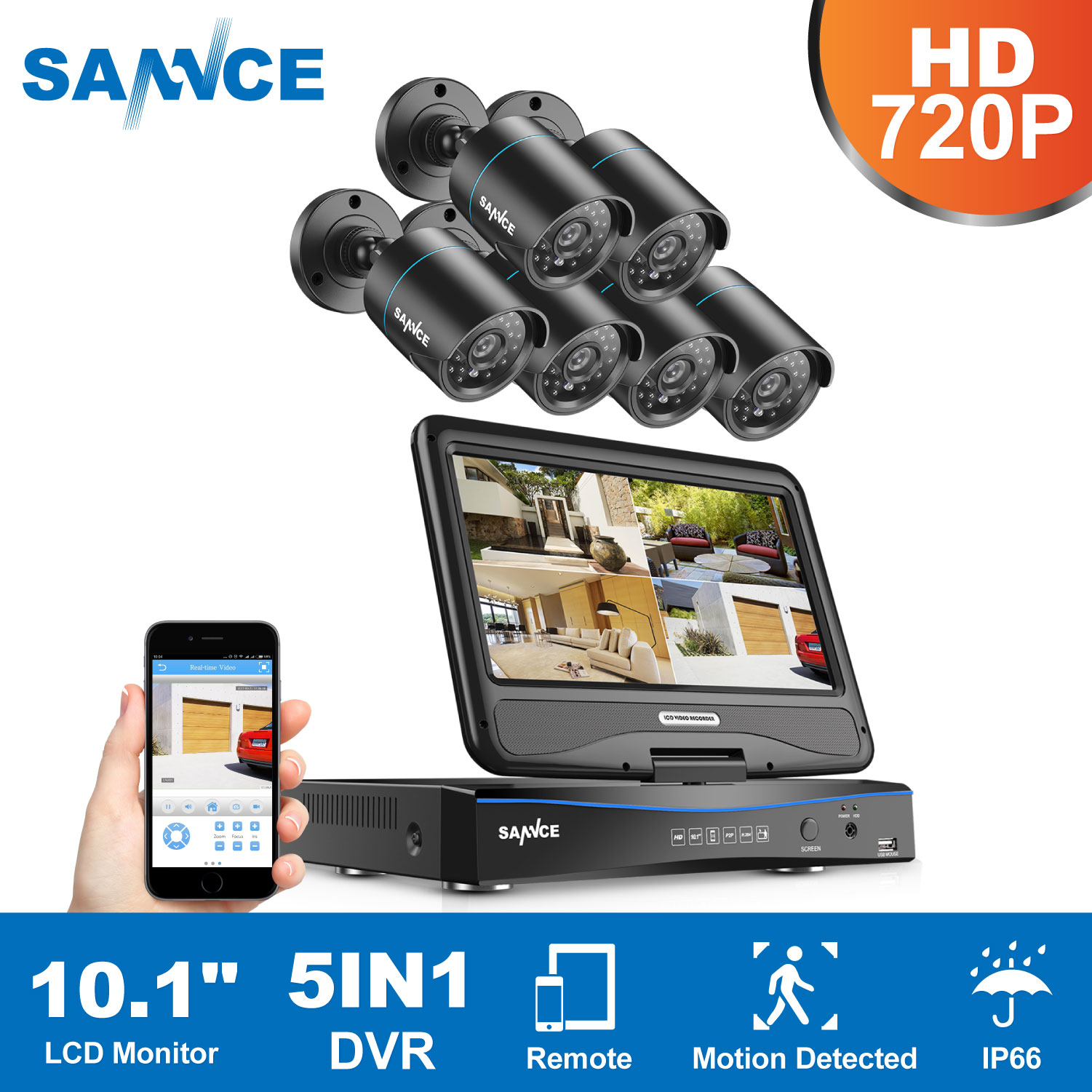 SANNCE 10 1inch Displayer 8CH CCTV System 1080N HDMI DVR Kit 6PCS 720P Outdoor Security Waterproof