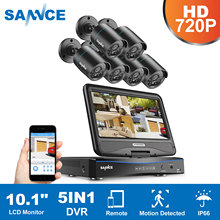 SANNCE 10.1inch Displayer 8CH CCTV System 1080N HDMI DVR Kit 6PCS 720P Outdoor Security Waterproof Night Vision Surveillance Kit
