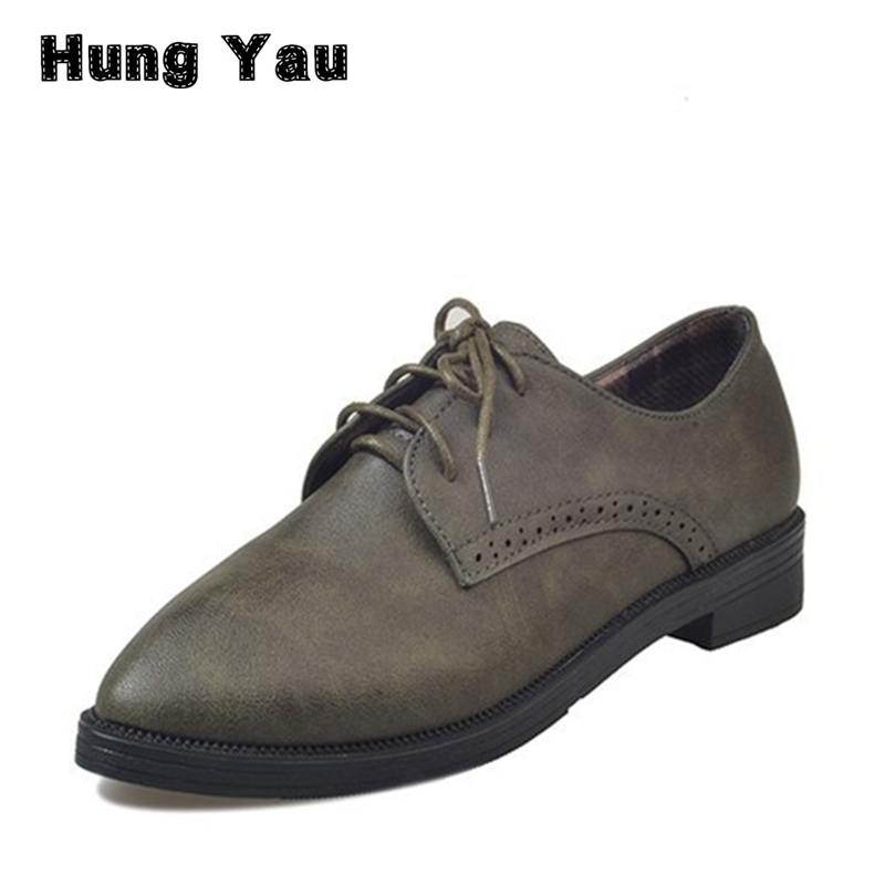 Hung Yau Women Oxfords Flats Casual Platform Black Shoes Woman Spring Summer Style Fashion Women Lace- UP Flat Shoes Size US 8 hung yau women oxfords flats casual platform black shoes woman spring summer style fashion women lace up flat shoes size us 8