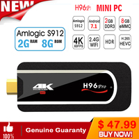 H96 pro Mini PC Android Tv Box 7.1 Mini Box 2gb ram 16gb rom/8Gb Rom Amlogic S912 64bit Octa core Mini PC Media TV Stick