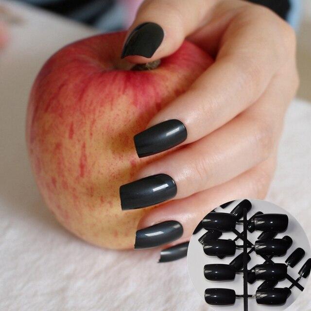 Vinger Valse Nep Nagels Klassieke Zwarte Mode Dame Nep Nagels Nail
