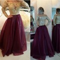 2017 Fashion Long Sleeves Prom Dresses Gold Appliques Wine Red Evening Gowns Buttons Floor Length vestidos de festa Custom Made