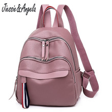 Jiessie&Angela Fashion Simple Backpack Female Leather Backpacks for Women Large Capacity School Bags Girls Travel Shoulder Bag
