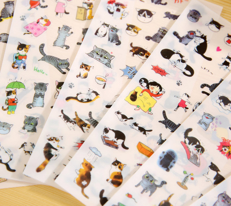 6pcs/set Cat Photo Album Decoration Transparent PVC Stickers Toys Diary Scrapbook Calendar Notebook Wall DIY Gift Decoration
