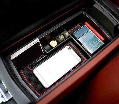 Black Interior Armrest Storage Box Holder For Peugeot 3008 GT 2016 2017 2018