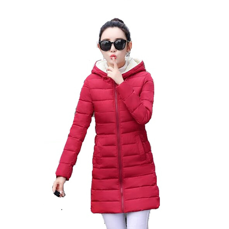Winter Jacket Women Warm Down Jacket New 2017 Women Long Slim Fashion Coat Thick Padded Hooded Female Parka Large size Cotton