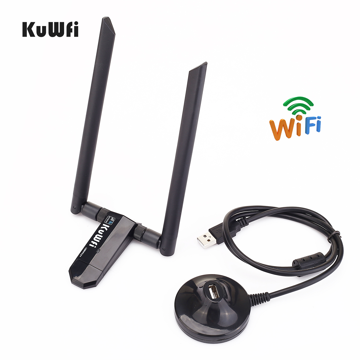 KuWFi Mini USB3.0 Wifi Adapter 1200Mbps 5dBi Antenna PC USB Wi-fi Receiver Dual Band High Speed Wireless Network Card