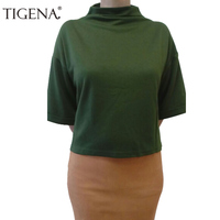 2017 Manga Morcego T-shirt Das Mulheres de Verão de Algodão Camisa Curto T Das Mulheres camiseta de Gola Alta T-shirt Feminina camiseta femme Vinho Verde