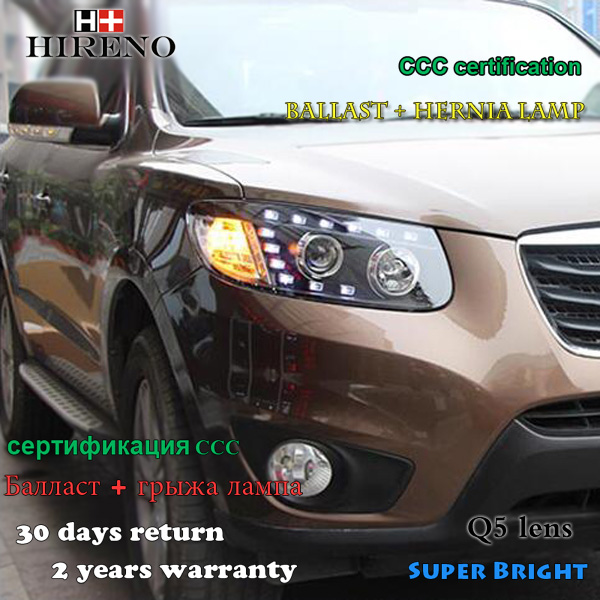 Hireno Headlamp for 2005-2008 Hyundai Santa Fe Headlight Assembly LED DRL Angel Lens Double Beam HID Xenon 2pcs