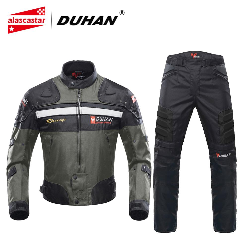 DUHAN Motorcycle Jackets Men Motocross Racing Jacket Motorcycle Protection Moto Jacket Set Riding Windproof Protective Gear