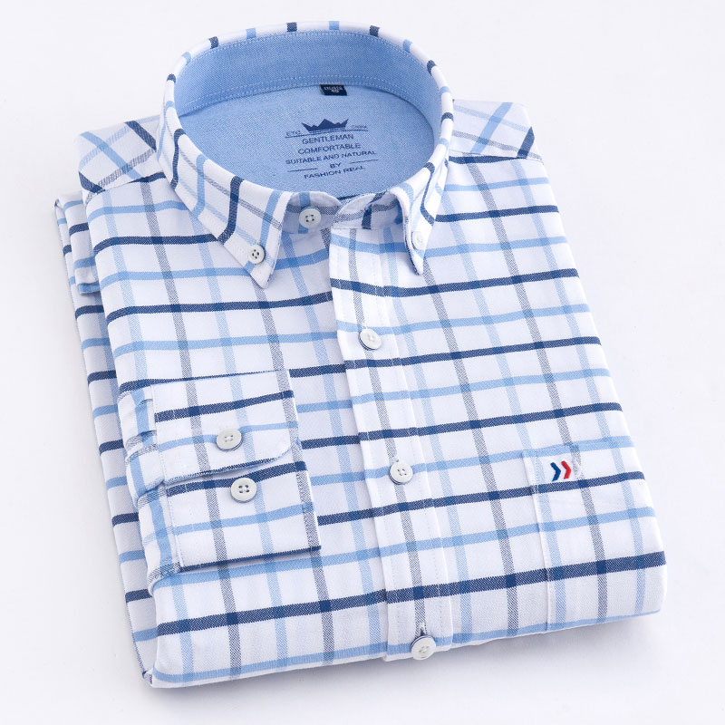 New Arrival 100% Cotton Men Oxford Shirts Long Sleeve Quality Fashion Button-down Work Tops Regular Fit Plaid Men Casual Shirt