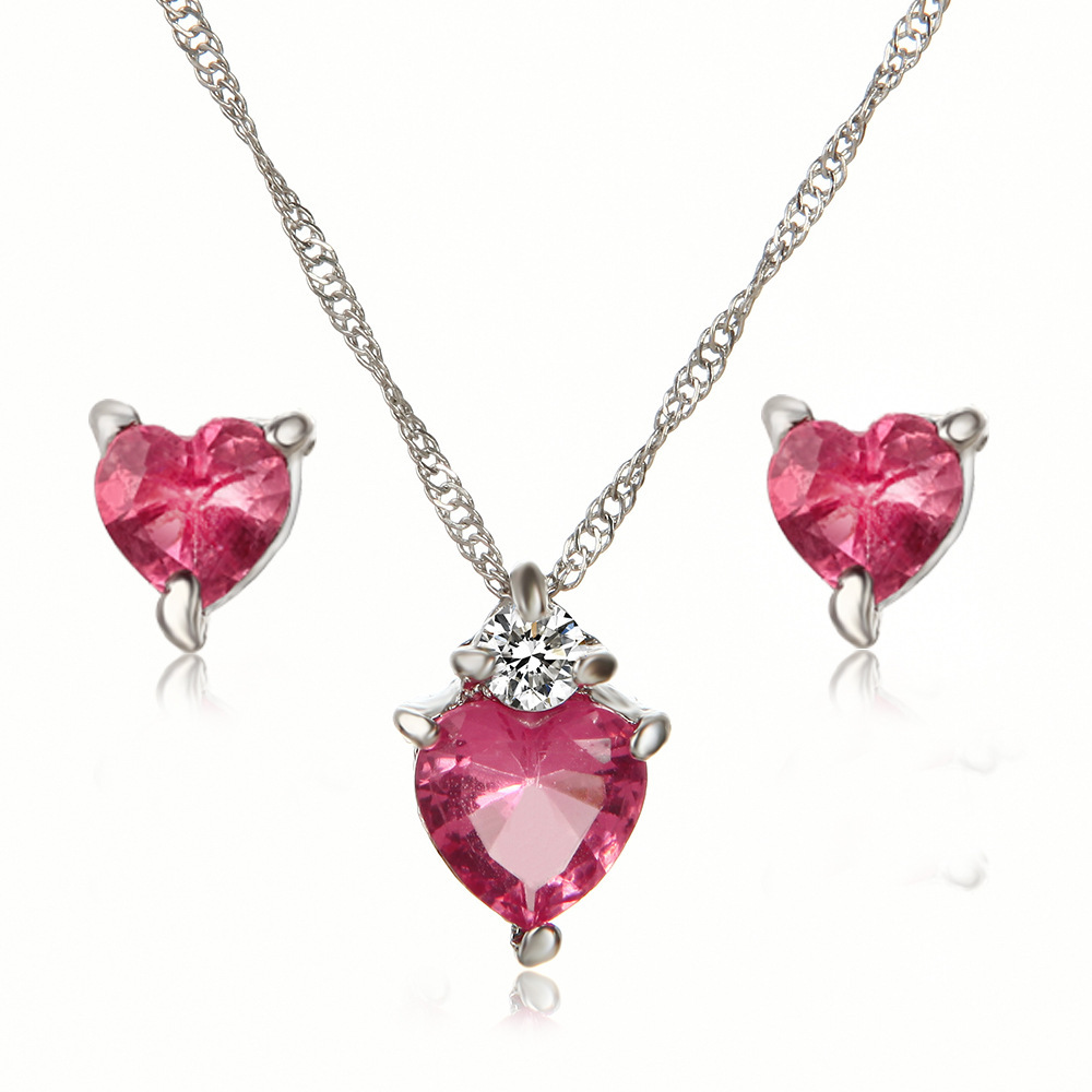Love Heart Crystal Jewelry Set Wedding Fashion Women Necklace Earring Silver Color Collar Studs Bridal Costume Jewellery
