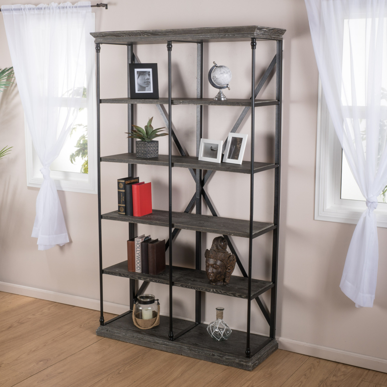 Alondra 5 Shelf Industrial Dark Tan Grey Wood Bookshelf In Living Room Chairs From Furniture On Aliexpress