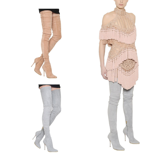 b43aa37e038 Sexy over the knee thigh high boots slim fit elastic suede leather pointy  high heel boots extra long boots
