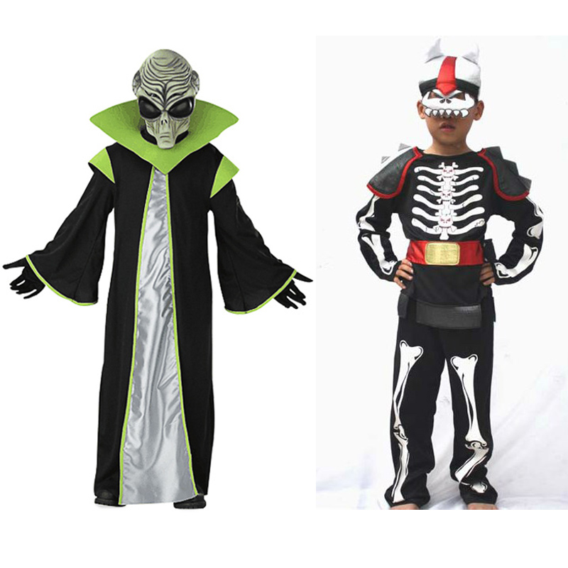 Aliens / Skeleton Skull Warrior costume for Kids Halloween Fancy Dress