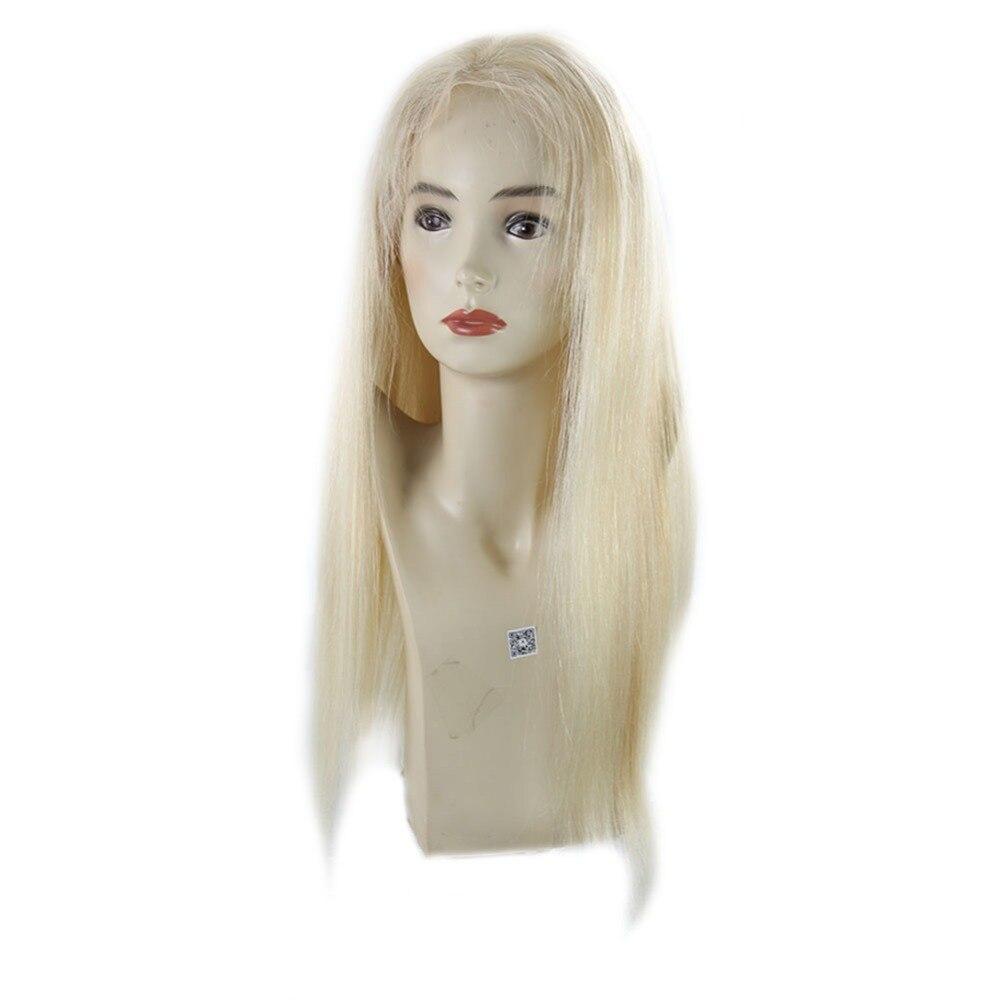 Полный блеск бразильский человеческих волос желтый блондинка Цвет #613 Синтетические волосы на кружеве парик с ребенком волосы 150% Плотность ...