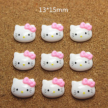cec71e5df 30pcs Cute Resin Hello Kitty Solid white pink Bow Cabochon Flatbacks for  DIY Scrapbooking Hair Bow Center