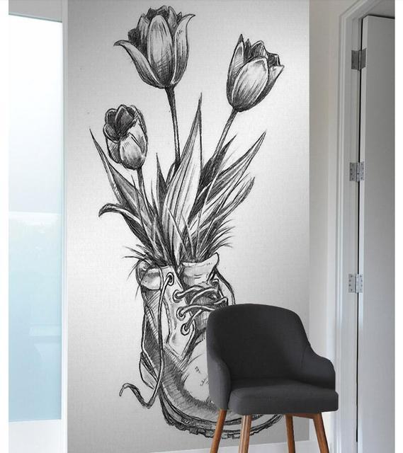 Atfipan Tidk Fashion Kanvas Poster Dan Cetakan Bunga Sepatu Sketsa