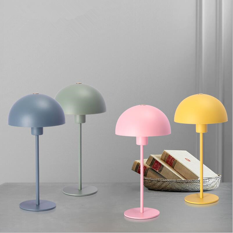 Nordic Macarons half round Iron shade table lamps bedroom bedside kid's room H40cm EU/US on/off plug E27 led iron desk lamps розетка iron off 30