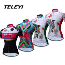 2017 TELEYI Green MTB Bike Jersey Women's Cycling Clothing Girls Ropa Ciclismo Pro Jersey Riding bicycle Top Maillot Breathable