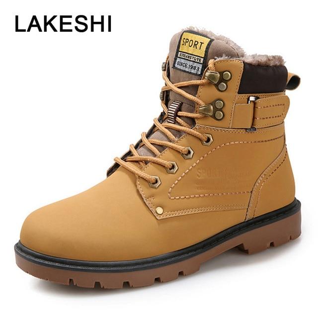 LAKESHI New Men Boots Fahsion 눈 Boot Men Ankle Boots Men Martin Boots 대 한 Men Shoes 와 퍼 Keep Warm 워크 Shoes Size 39-46