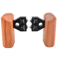 CAMVATE DSLR Wooden Dual Handle Grip With Connector For DV Video Camera Cage Steadycam Stabilizer Accessories C1346