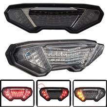 2-colores de freno de la motocicleta luz trasera led integrado de señal de vuelta para yamaha 2013-2016 fz mt-09 12 v pvc plástico smoke/clear