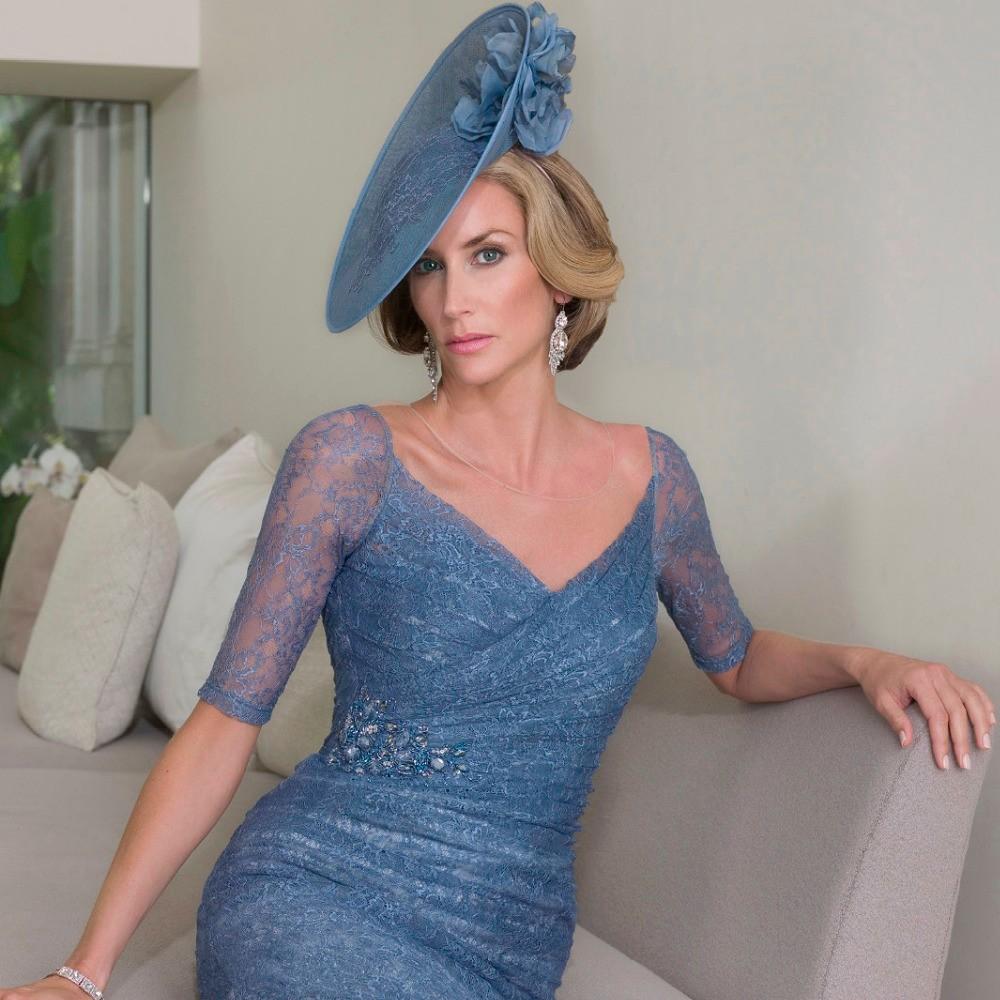 Elegant-Dark-Blue-Beaded-Pleated-Lace-Mother-of-the-Bride-Dresses-2016-Half-Sleeve-Satin-Jacket (1)