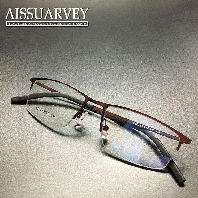 Мужчины очки кадр оптический мода простой рецепт квадрат половины обода очки кадр коричневый красивый металл новая бесплатная доставка