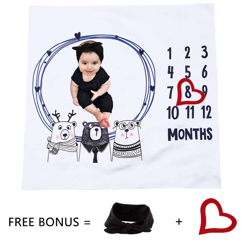 Newborn Baby Monthly Growth Number Milestone Blanket Background Cloth Girls Boy Commemorate Rug Photography Props