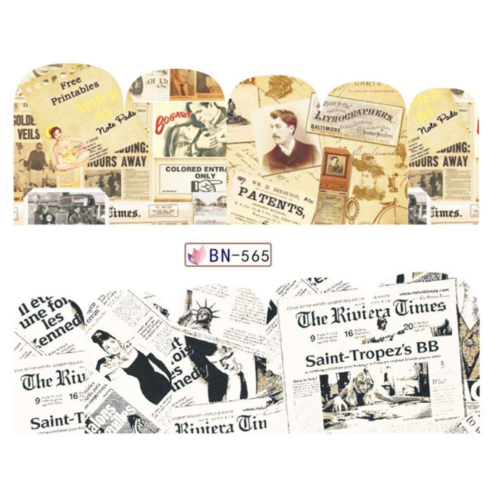 Mix 12 Designs Newspaper Nail Sticker Water Transfer Decals New Full ...
