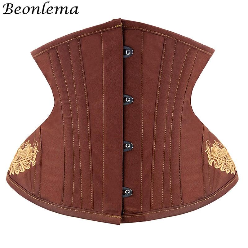 Image 2 - Beonlema Women Underbust Corset Steel Bone Steampunk Sexy Corsets Black Gothic Waist Slimming Female Red Corset S 2XL-in Bustiers & Corsets from Underwear & Sleepwears