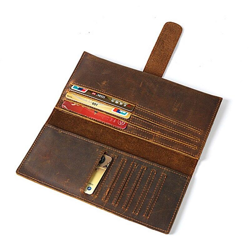 Vintage Tarjeta de cuero de vaca carpeta ocasional del cuero genuino hombres carteras sólidas