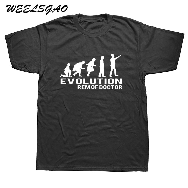 WEELSGAO Mens Popular Funny Evolution of the Doctor Printing T-shirt Doctor Who Design T shirts Cool Novelty Tee Tops Clothes