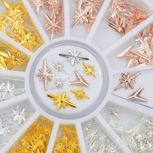2 sizes Gold silver 3D Metal starlight arrowhead triangle shape Beauty Nail Art Jewelry Decoration tips Accessories Tool Wheel