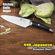 TUO Cutlery B&W Series 8 Inch Chef Knife Black Slicing Kitchen Cook Chef Sharp Blade Cut Frozen Meat 440 Japanese Steel