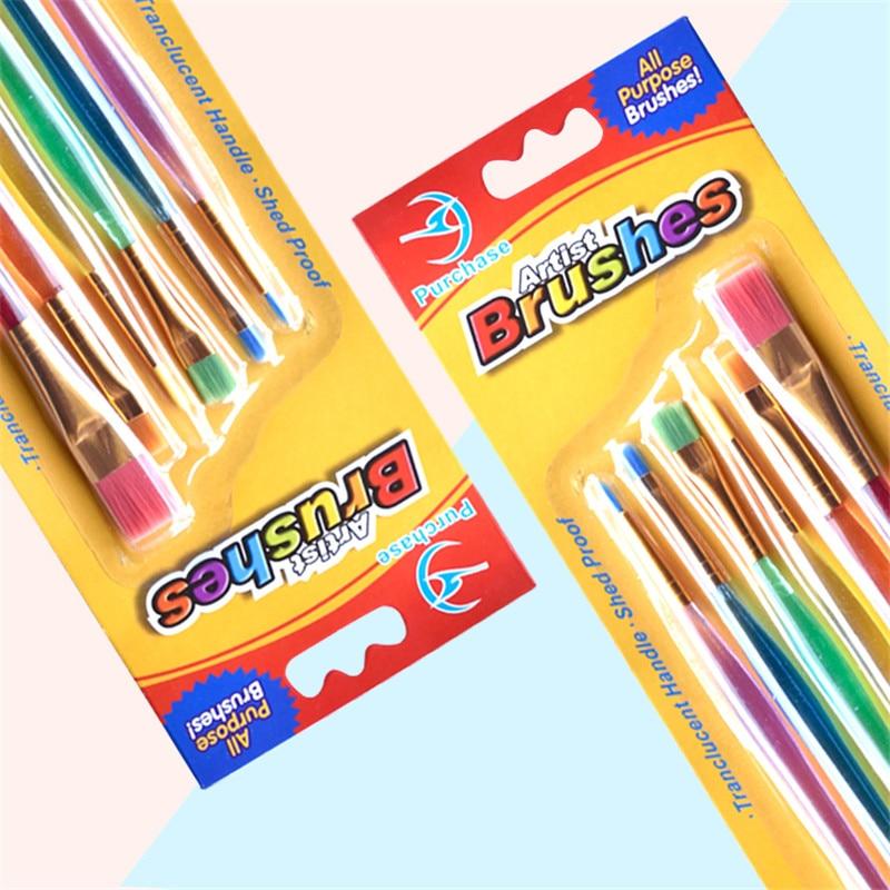 1 Set/6 Pcs Watercolor Gouache Brush Children DIY Art Supplies Different Shapes Nylon Hair Brush Set Painting Art Supplies