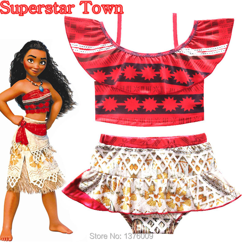Cosplay Moana Swimsuit Cute Girls Toddlers Swimwear 2 pcs Set Bathing Suit Bikini 2-10T