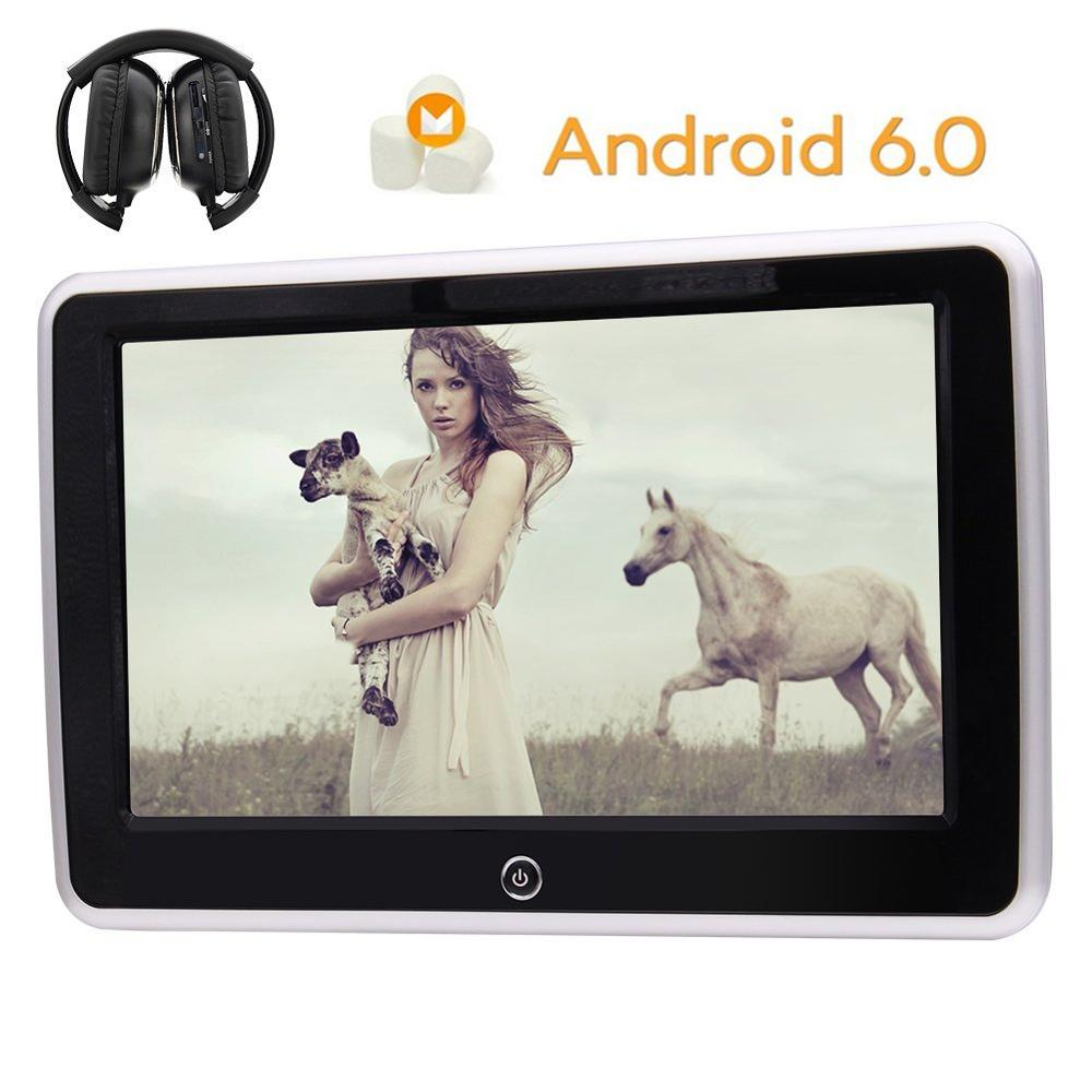 Wireless Headphone+Android Player 10.1″Headrest pillow Video Wide View LCD Monitor Support HDMI FM IR USB SD TV WIFI Mirror Link
