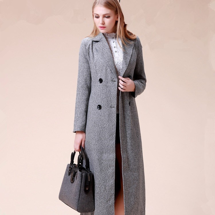 2016 autumn new long section of high end thin coat ladies coat font b jacket b