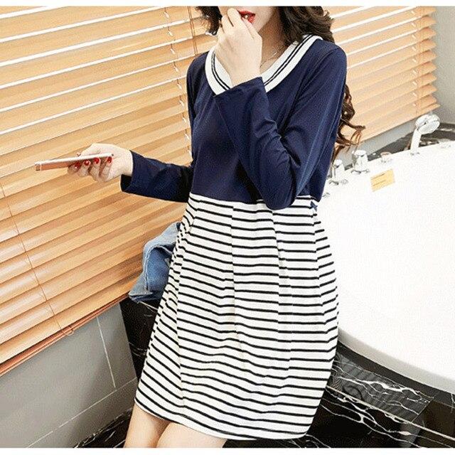 27a22cd2c8c Autumn Pregnancy Women Dress Blue White Stripes Maternity Dresses Long  Sleeve Pregnant Clothing Women Gown Casual Clothes