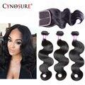 7A Brazilian Virgin Hair With Closure Cynosure Hair Brazilian Body Wave 3/4 Bundles With Closure Soft Human Hair With Closure