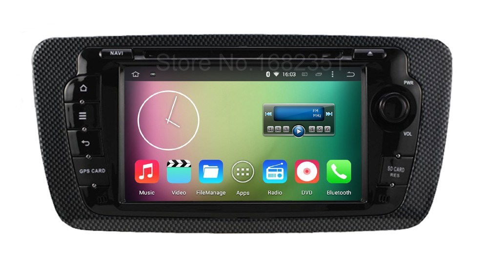 Quad core HD 1024 600 Android 5 1 1 Car DVD Video Player GPS for Seat