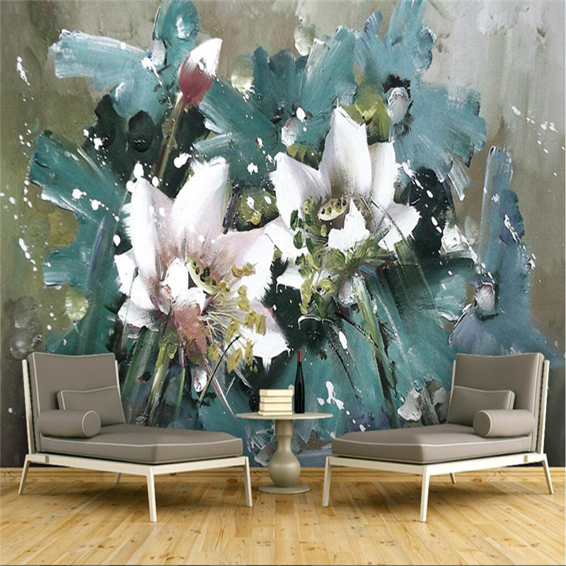 European Vintage Photo Wallpapers 3D Oil Painting Retro Flowers Wallpapers for Living Room Wall Papers Home Decor Bedroom Murals circle mirror photo wallpapers 3d modern abstract murals wall papers home decor wallpapers for living room wall paste wall mural