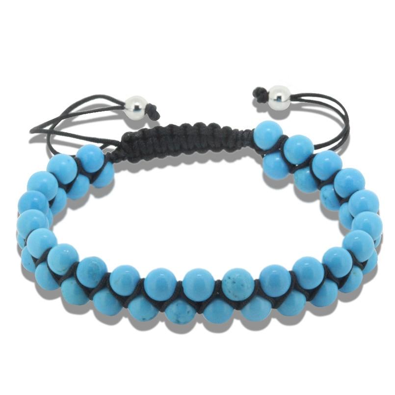 1PC New 6mm natural green crackle round stone beads black rope weaving macrame men bracelet fashion jewelry women bracelet