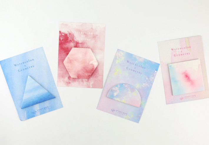 Lovely watercolor gemetry Sticky Notes Planner Stickers Scrapbooking Post It Memo Pad Sticky bookmark Office Supplies Papelaria