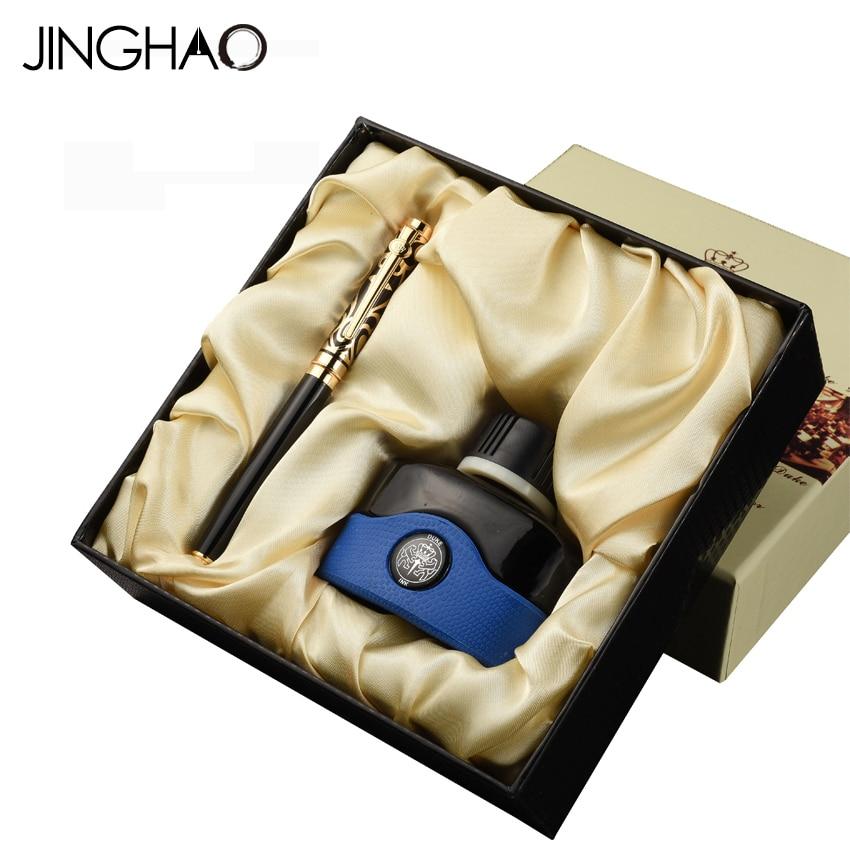 Luxury 0.5mm Fountain Pen or 1.0mm Bent Nib Art Fountain Pen Ink Set DUKE Gold Blue/Silver Red Stone Top High End Gift Pens Set серьги art silver art silver ar004dwzmh30